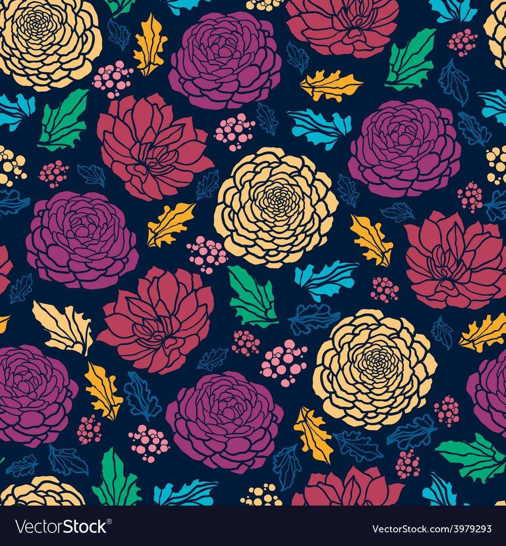 Colorful vibrant flowers on dark seamless pattern vector | Price: 1 Credit (USD $1)