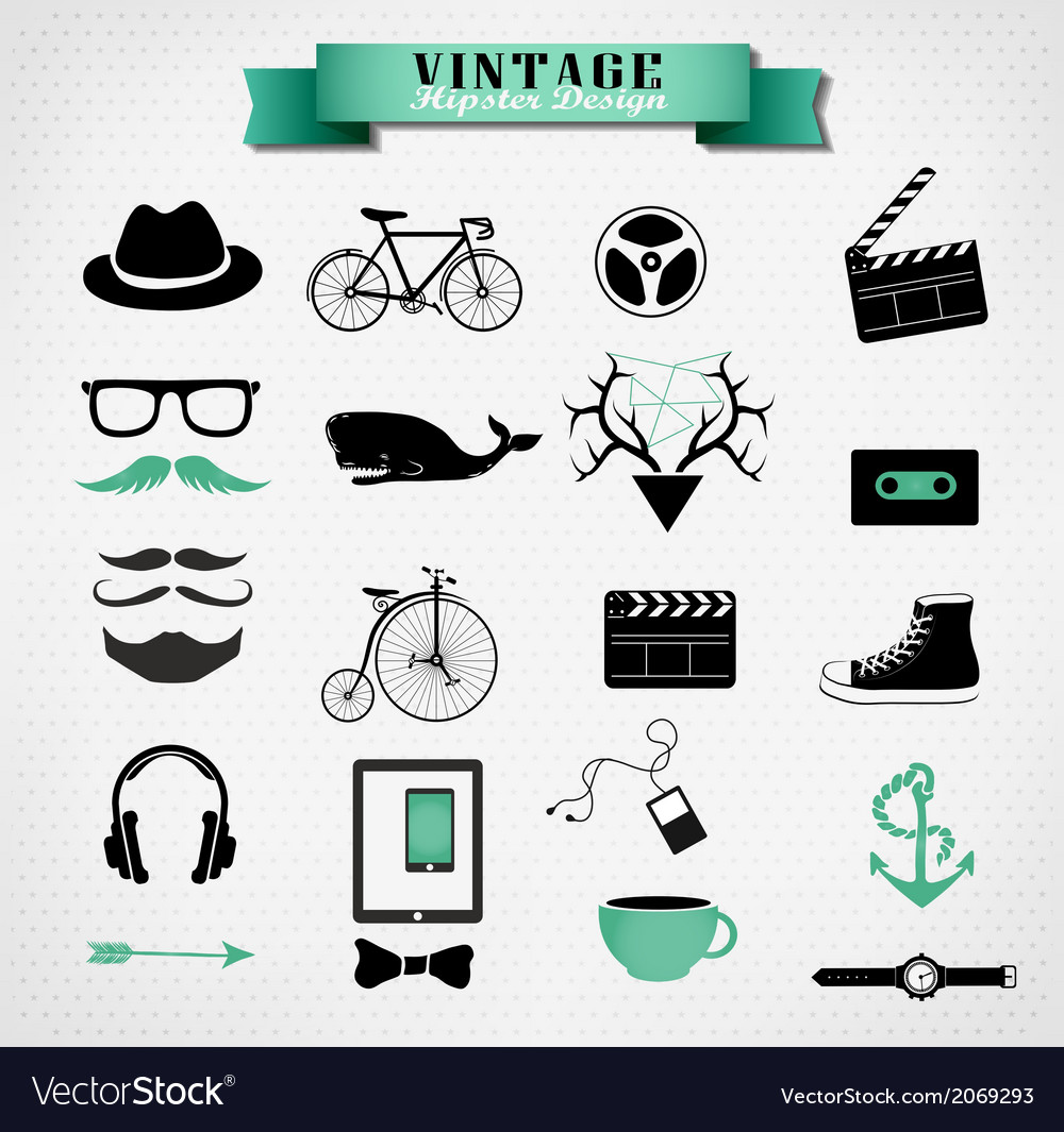Hipster style elements icon and object can be used vector | Price: 1 Credit (USD $1)