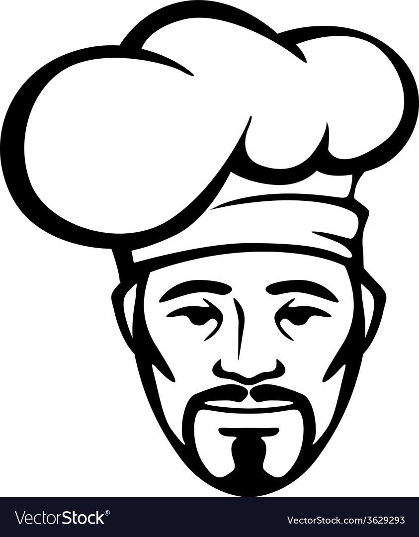 Hispanic chef in a white toque vector | Price: 1 Credit (USD $1)