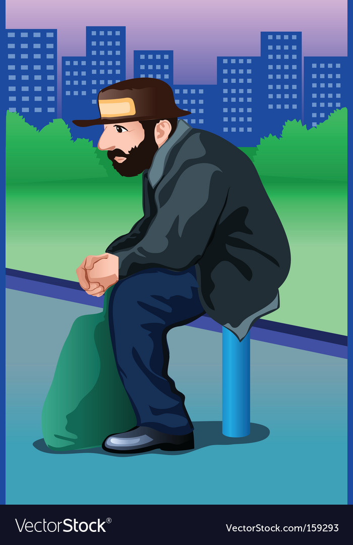Homeless man vector | Price: 1 Credit (USD $1)