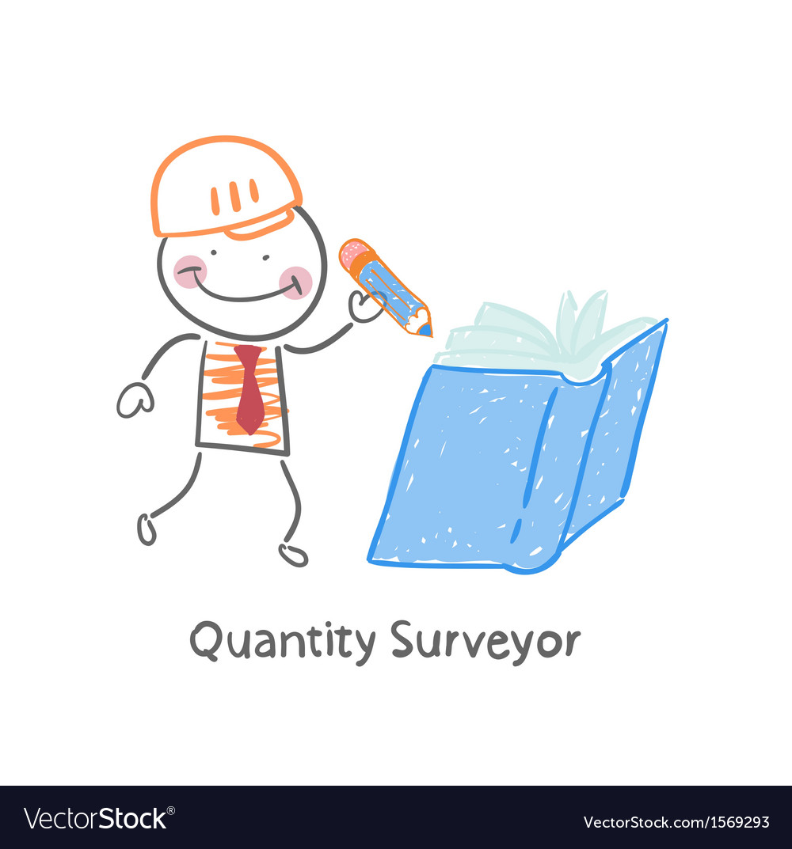 Quantity surveyor wrote in pencil in a book vector   Price: 1 Credit (USD $1)