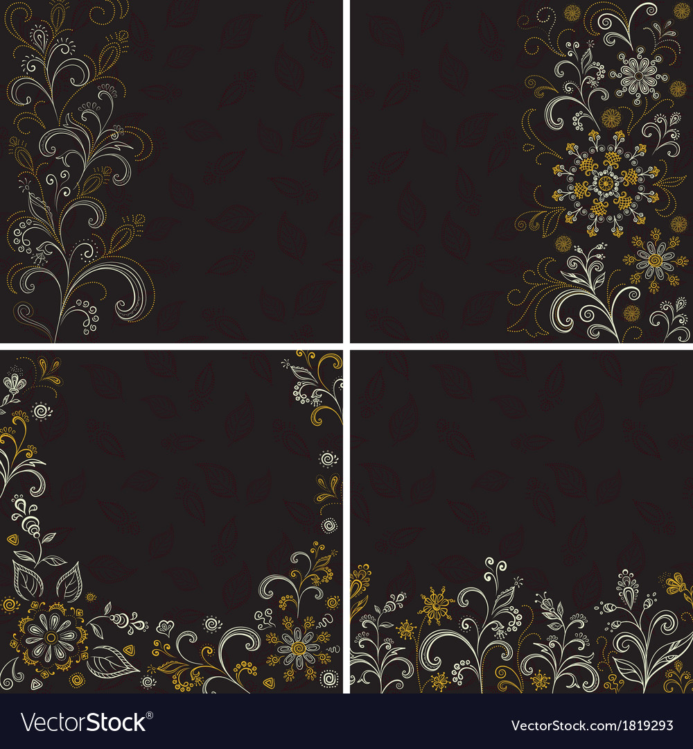 Set abstract floral backgrounds vector | Price: 1 Credit (USD $1)
