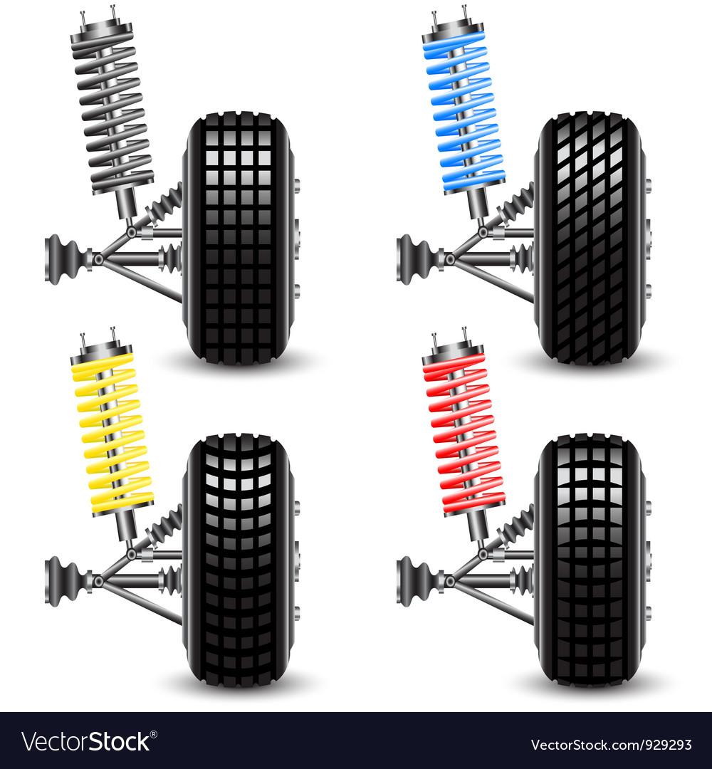 Set front car suspension vector | Price: 3 Credit (USD $3)