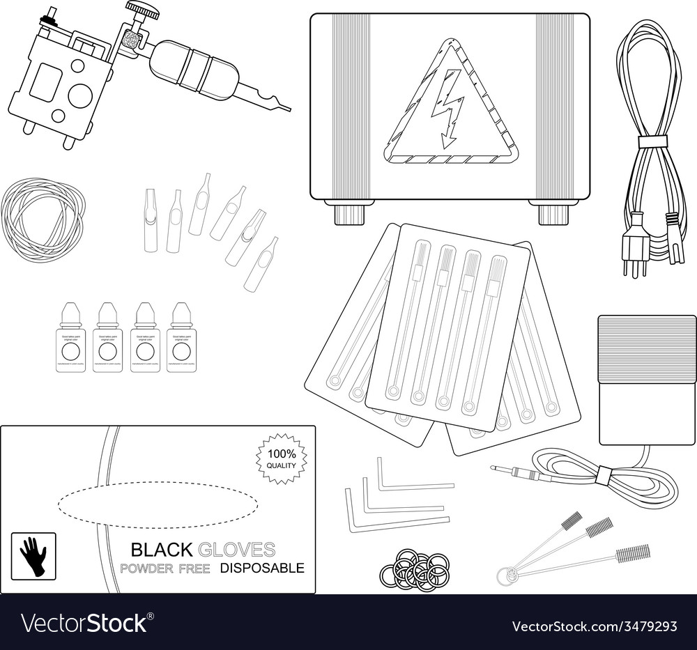 Set of professional tattoo equipment line-art vector | Price: 1 Credit (USD $1)