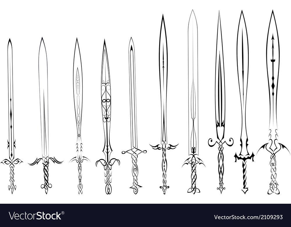 Set of silhouettes of swords tattoo vector | Price: 1 Credit (USD $1)