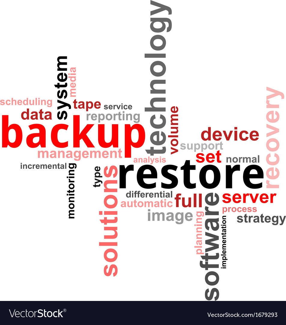 Word cloud backup restore vector | Price: 1 Credit (USD $1)
