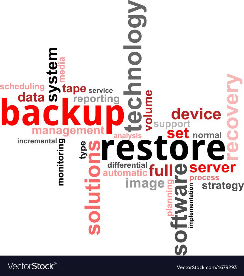 Word cloud backup restore vector | Price: 1 Credit (USD $1)