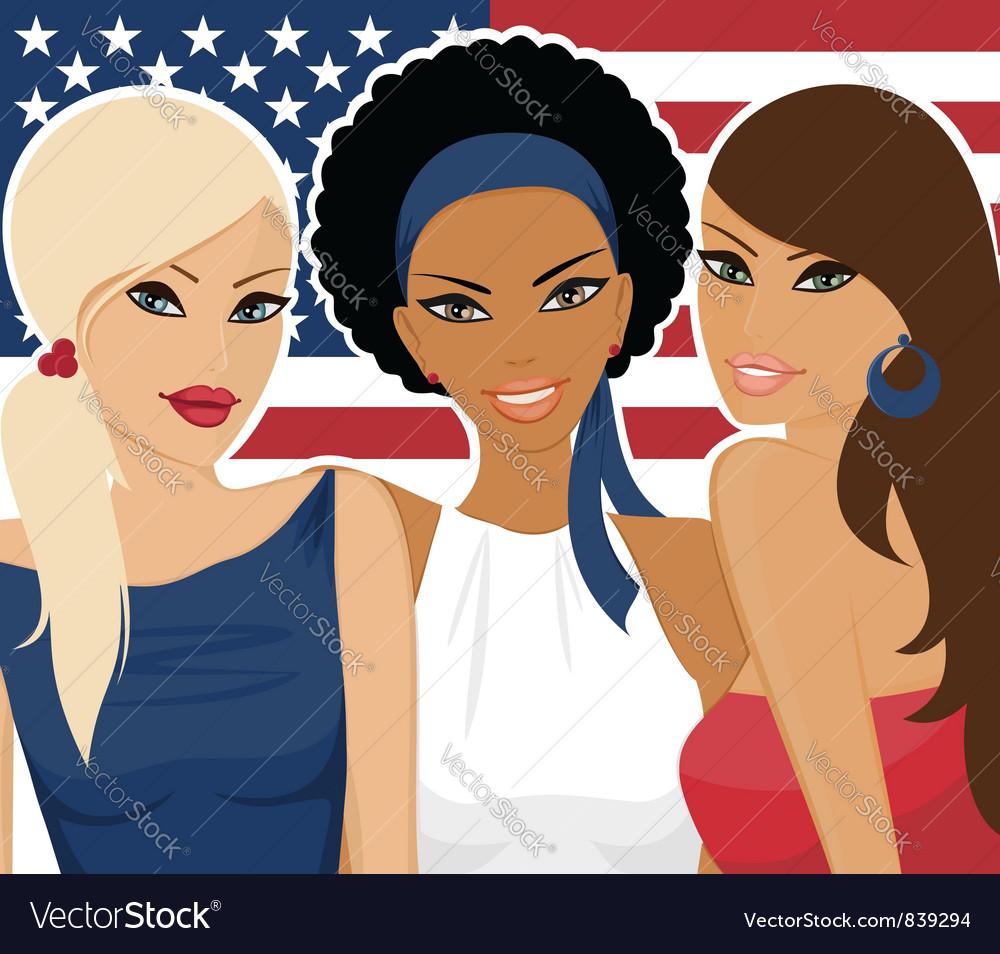 American girls vector | Price: 1 Credit (USD $1)