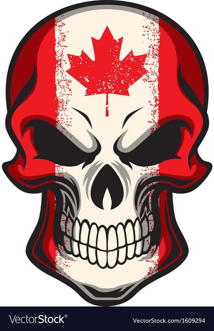 Canada flag painted on skull vector | Price: 1 Credit (USD $1)