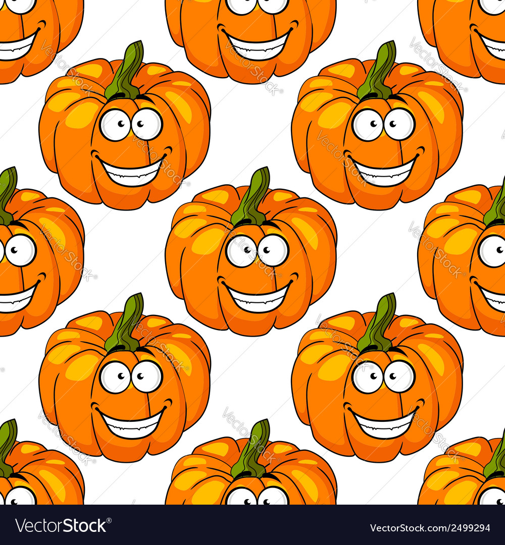 Happy smiling fresh pumpkin seamless pattern vector | Price: 1 Credit (USD $1)