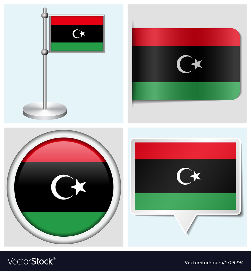 Libya flag - sticker button label flagstaff vector | Price: 1 Credit (USD $1)