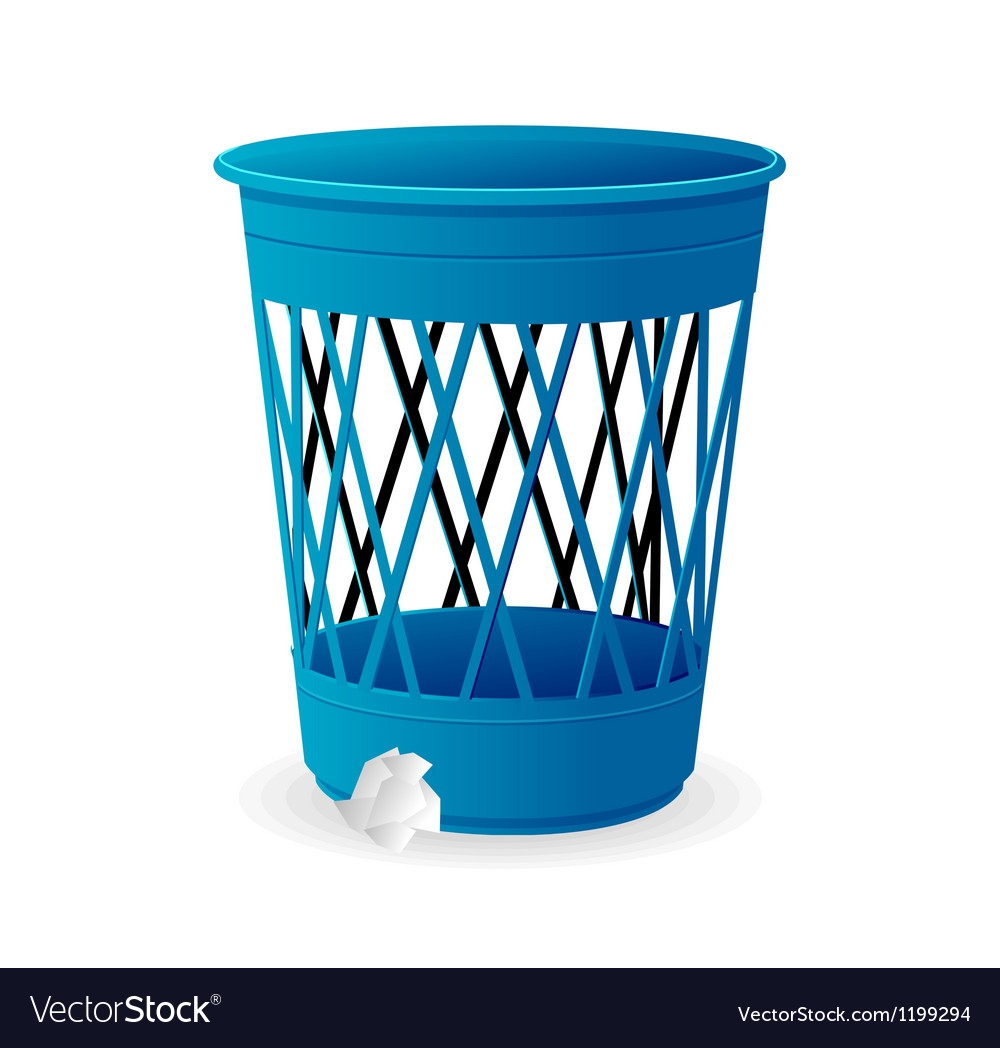 Plastic blue basket trash bins on white vector | Price: 1 Credit (USD $1)