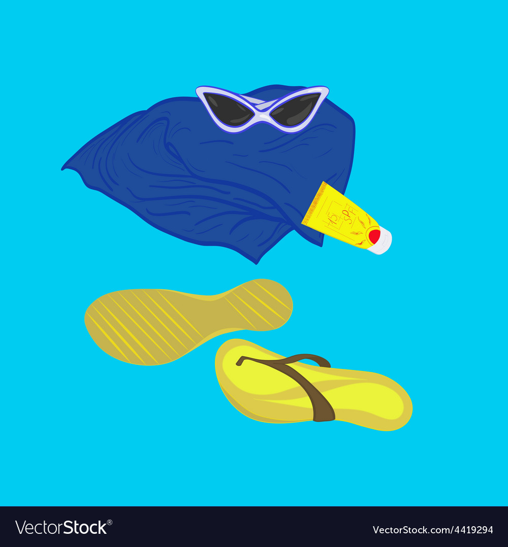 Towel sunglasses flip-flops sunblock vector | Price: 1 Credit (USD $1)