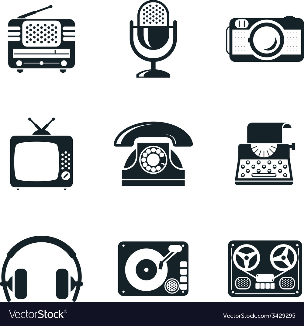 Black and white vintage device icons vector | Price: 1 Credit (USD $1)