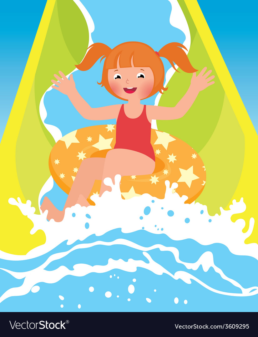 Children girl playing in water park in summer vector | Price: 1 Credit (USD $1)