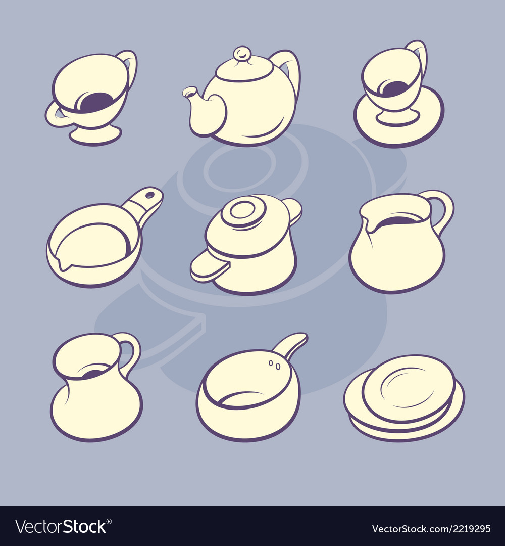 Cookware set vector | Price: 1 Credit (USD $1)