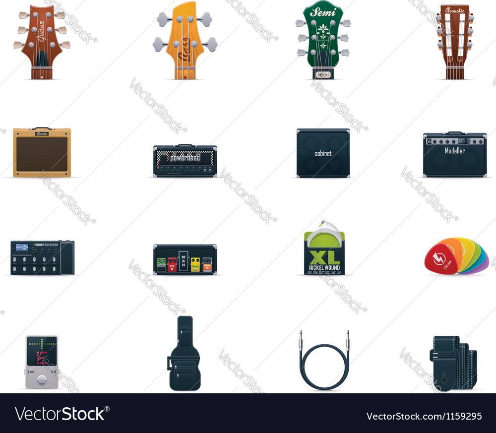 Guitar equipment icon set vector | Price: 3 Credit (USD $3)