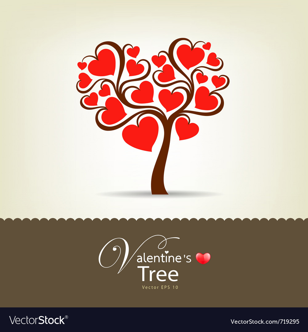 Happy valentine day tree vector | Price: 1 Credit (USD $1)