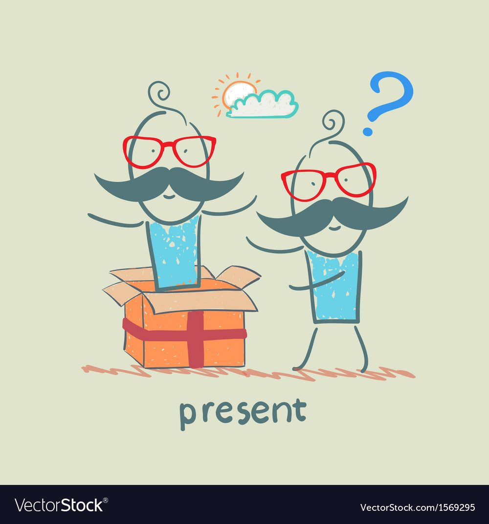 Man received a gift from another person vector | Price: 1 Credit (USD $1)