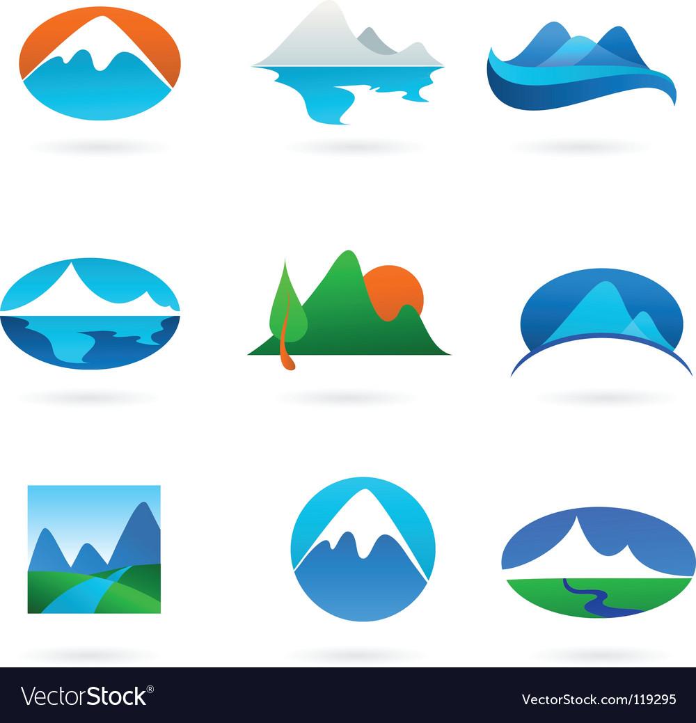 Nature logos 01 mountain theme vector | Price: 1 Credit (USD $1)