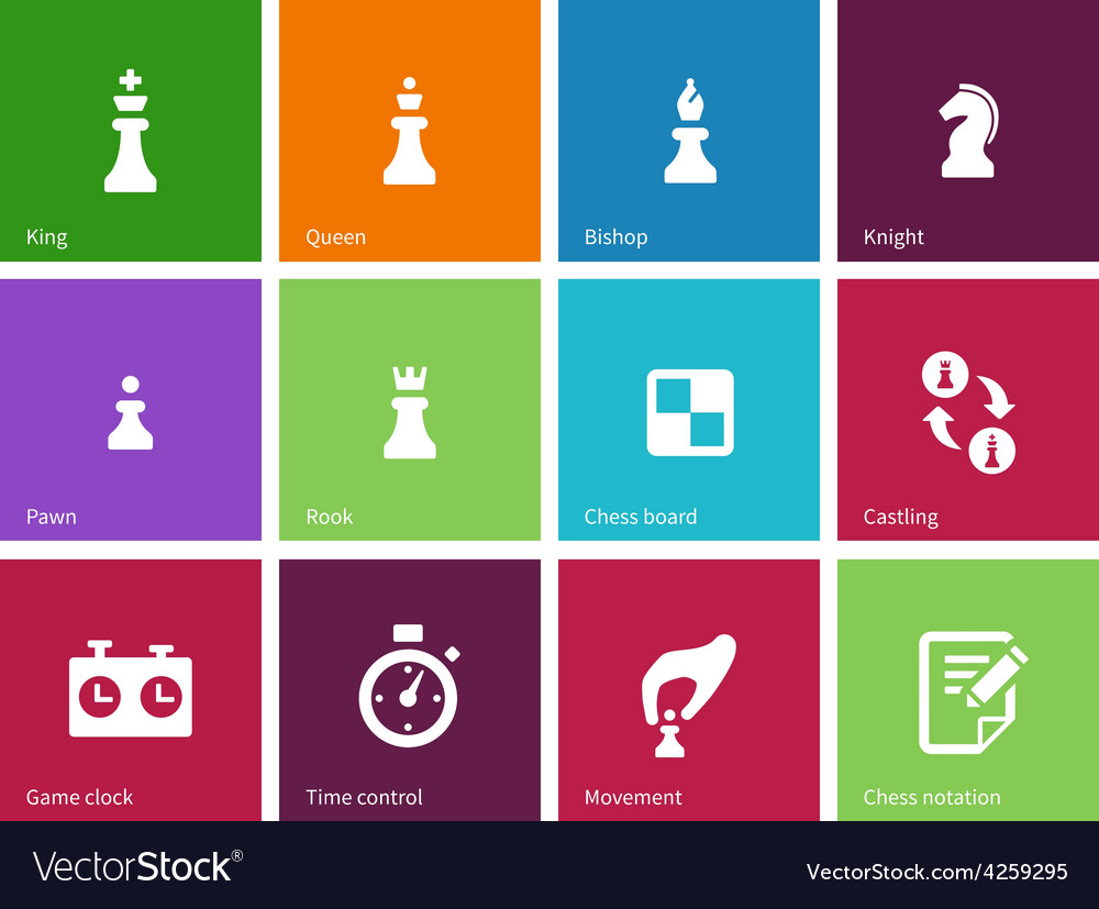 Playing chess icons on color background vector | Price: 1 Credit (USD $1)