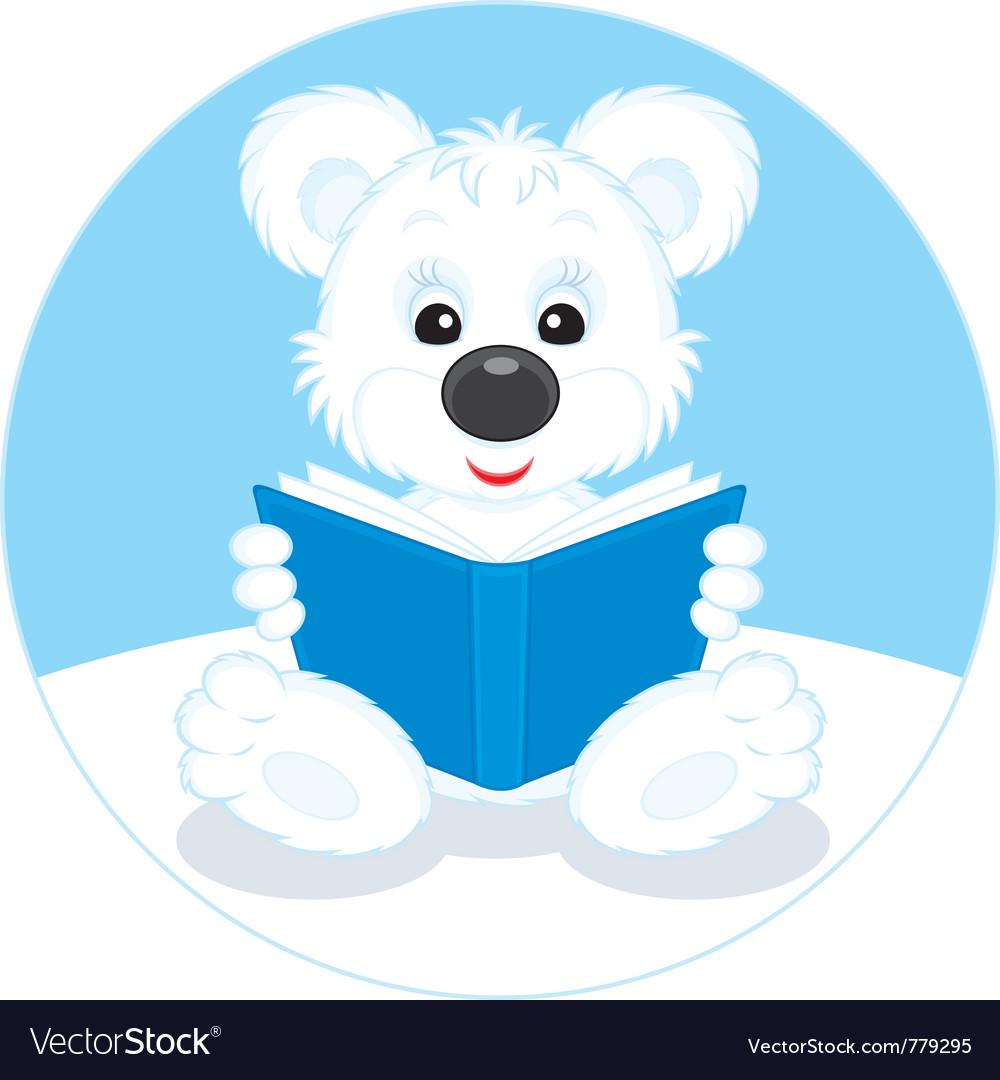 Polar bear cub reading a book vector | Price: 3 Credit (USD $3)