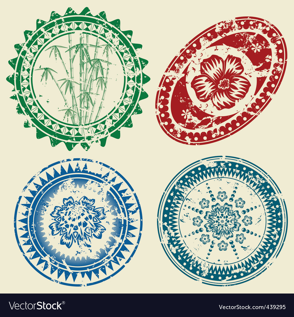 Postcard stamp set vector | Price: 1 Credit (USD $1)