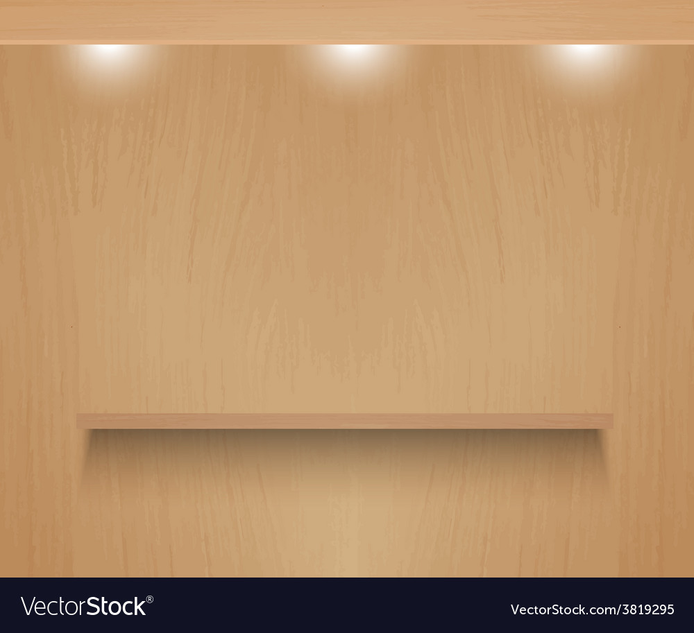 Realistic shelf on wooden wall vector | Price: 1 Credit (USD $1)