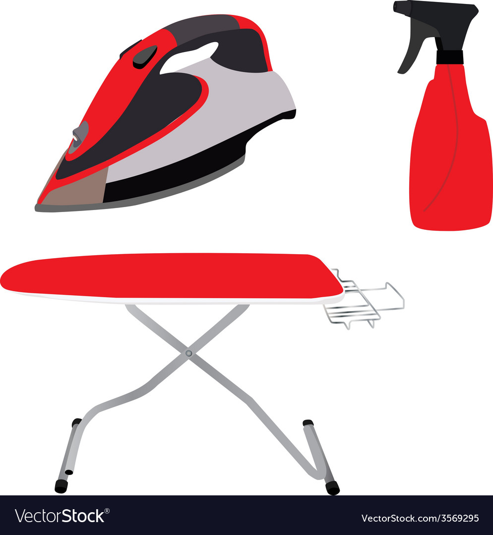 Red ironing board iron and spray vector | Price: 1 Credit (USD $1)