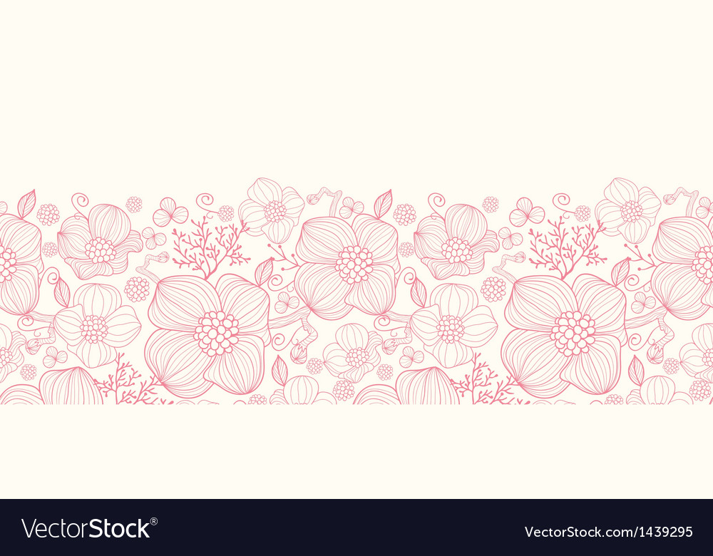 Red line art flowers horizontal seamless pattern vector | Price: 1 Credit (USD $1)