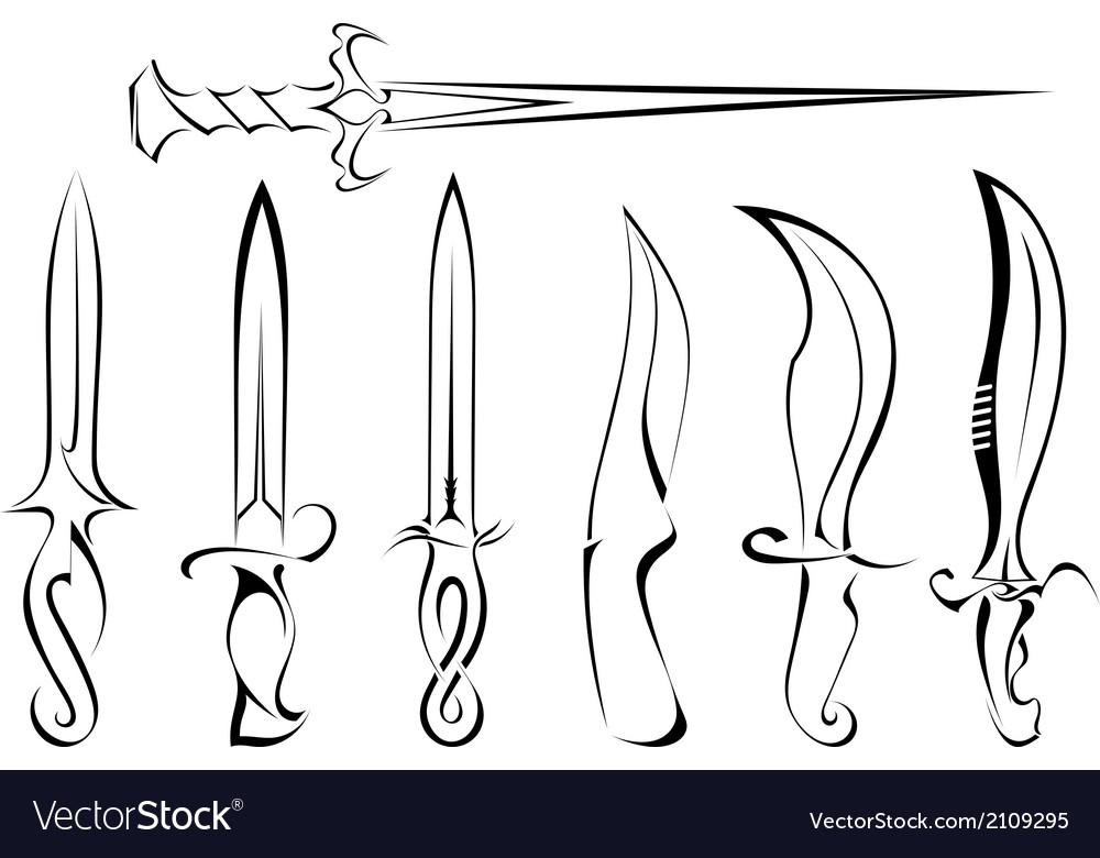 Set of silhouettes of knife tattoo vector | Price: 1 Credit (USD $1)