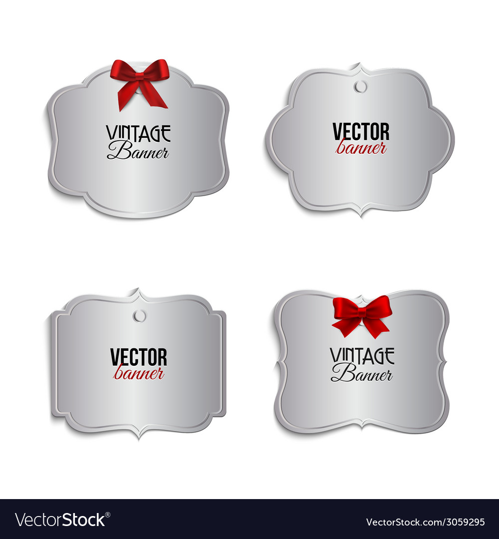 Silver vintage labels with red ribbons vector | Price: 1 Credit (USD $1)
