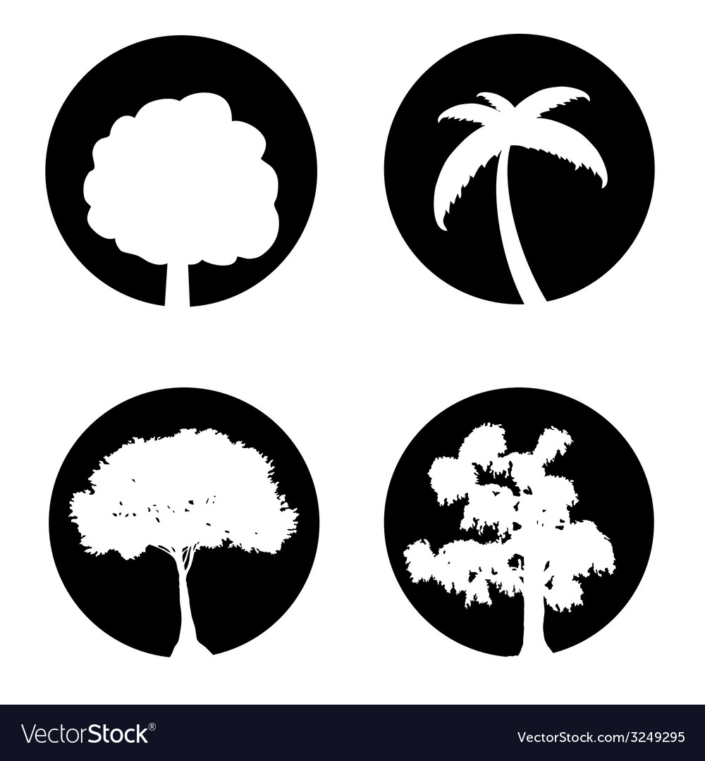Tree set black and white vector | Price: 1 Credit (USD $1)
