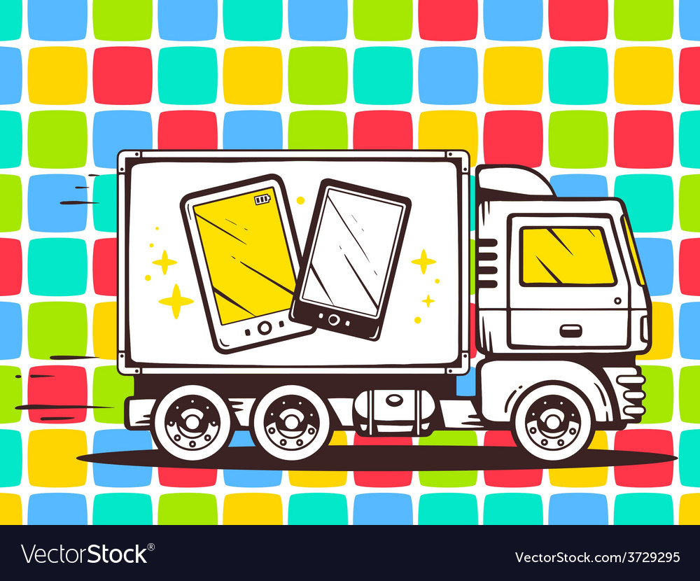 Truck free and fast delivering phone to c vector | Price: 1 Credit (USD $1)
