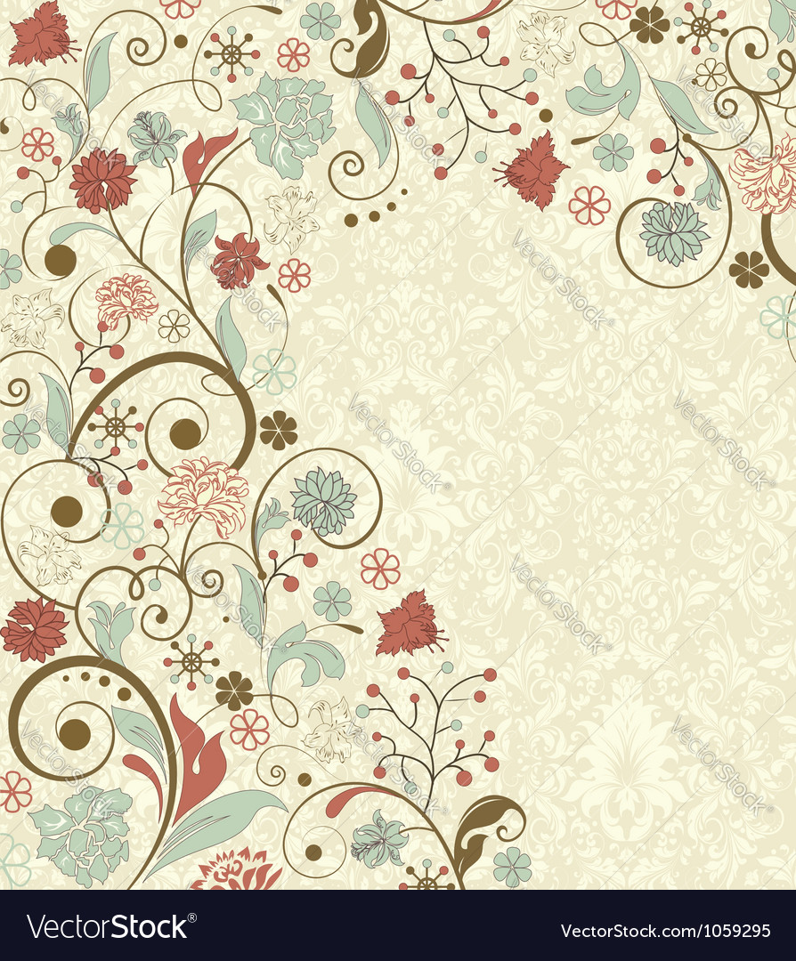 Vintage floral background with decorative flowers vector | Price: 1 Credit (USD $1)