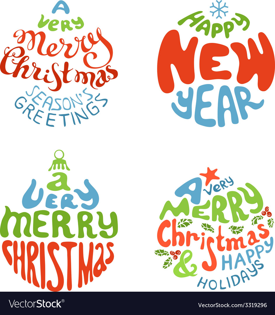 A very merry christmas and happy new year balls vector | Price: 1 Credit (USD $1)