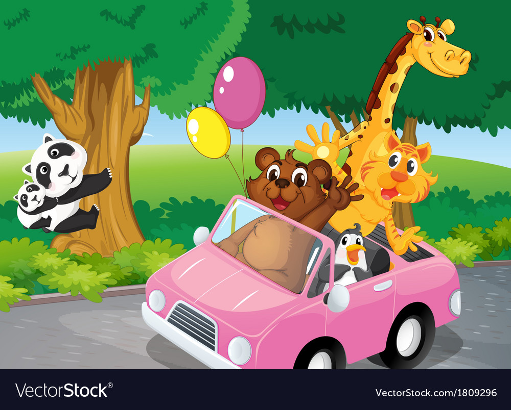 Bears climbing and a pink car full of animals vector | Price: 1 Credit (USD $1)