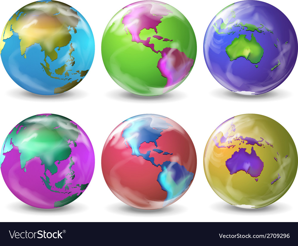 Earth in different colours vector | Price: 1 Credit (USD $1)
