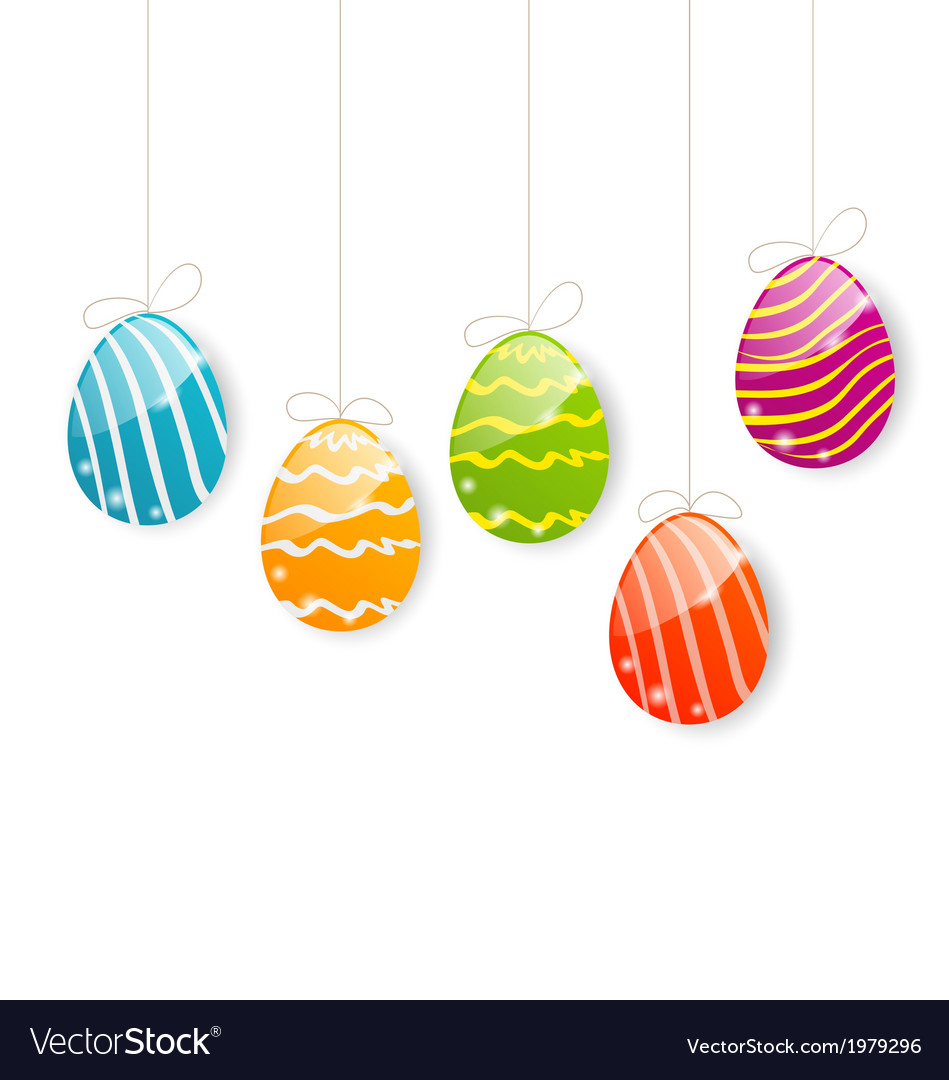 Easter colorful eggs on white background vector | Price: 1 Credit (USD $1)