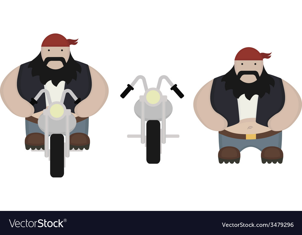 Fat biker with motorcycle no outlines vector | Price: 1 Credit (USD $1)