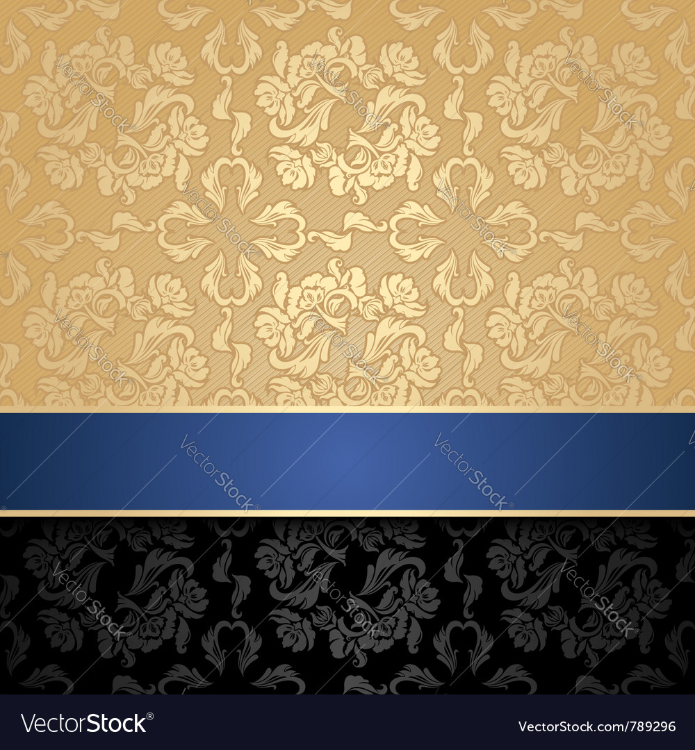 Floral decorative seamless background blue ribbon vector | Price: 1 Credit (USD $1)