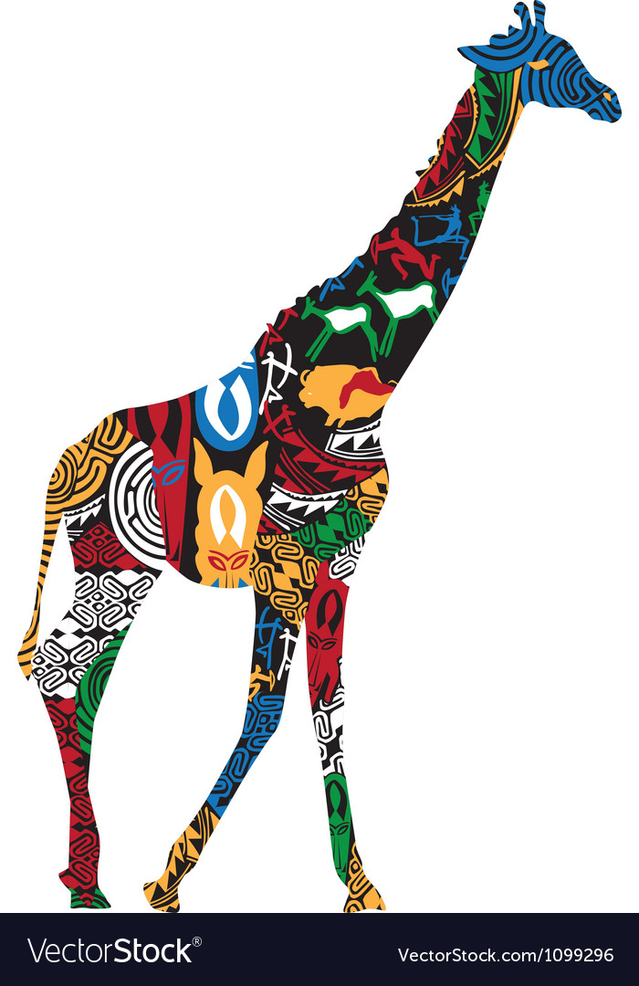 Giraffe in the african ethnic patterns vector | Price: 1 Credit (USD $1)