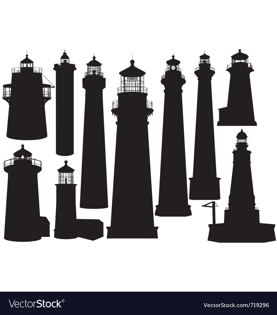 Lighthouse silhouettes vector | Price: 1 Credit (USD $1)