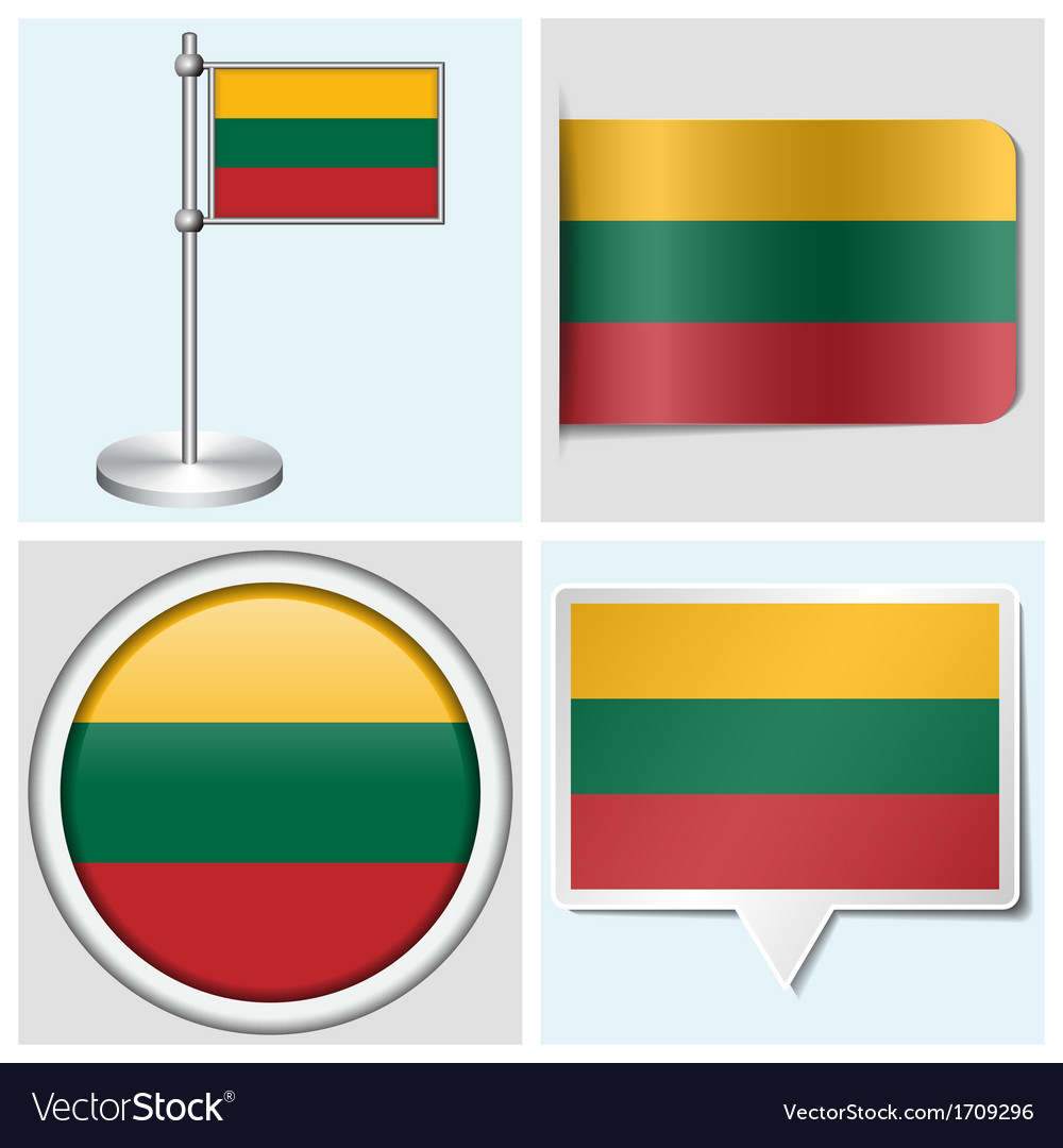 Lithuania flag - sticker button label flagstaff vector | Price: 1 Credit (USD $1)
