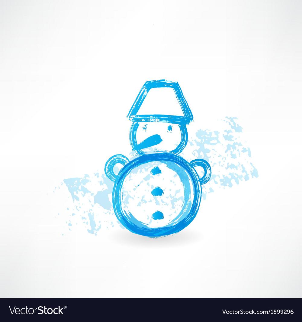 Little snowman grunge icon vector | Price: 1 Credit (USD $1)