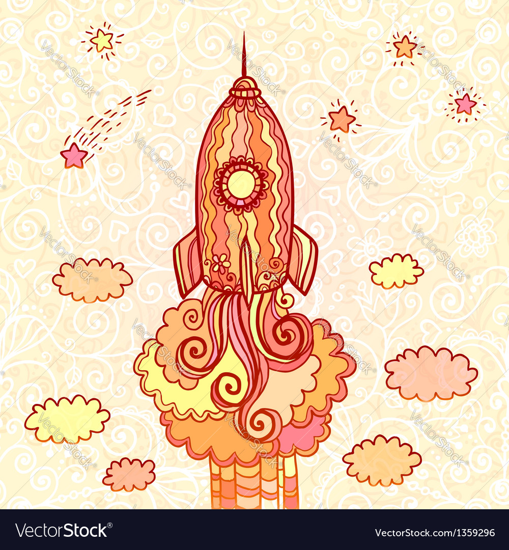 Ornate doodles rocket starting to space vector | Price: 1 Credit (USD $1)