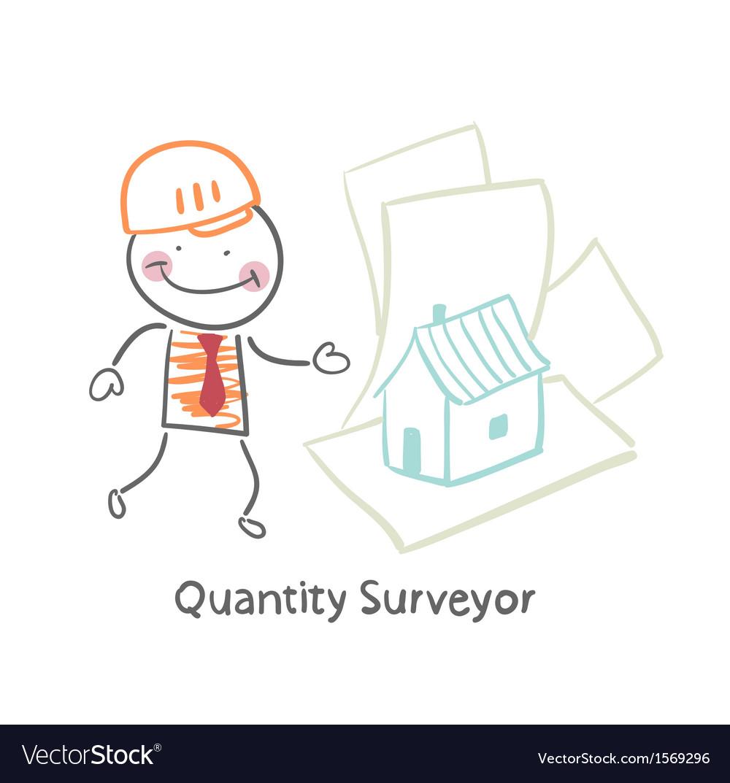 Quantity surveyor design house on paper vector   Price: 1 Credit (USD $1)