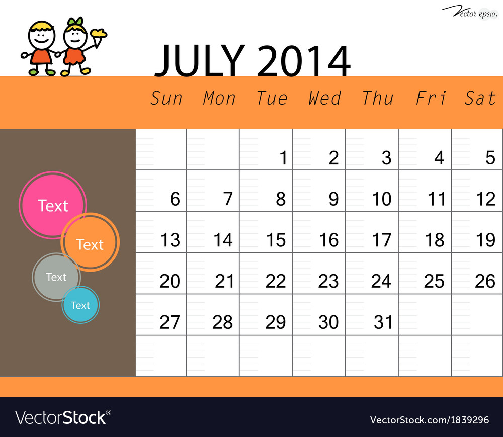 Simple 2014 calendar july vector | Price: 1 Credit (USD $1)