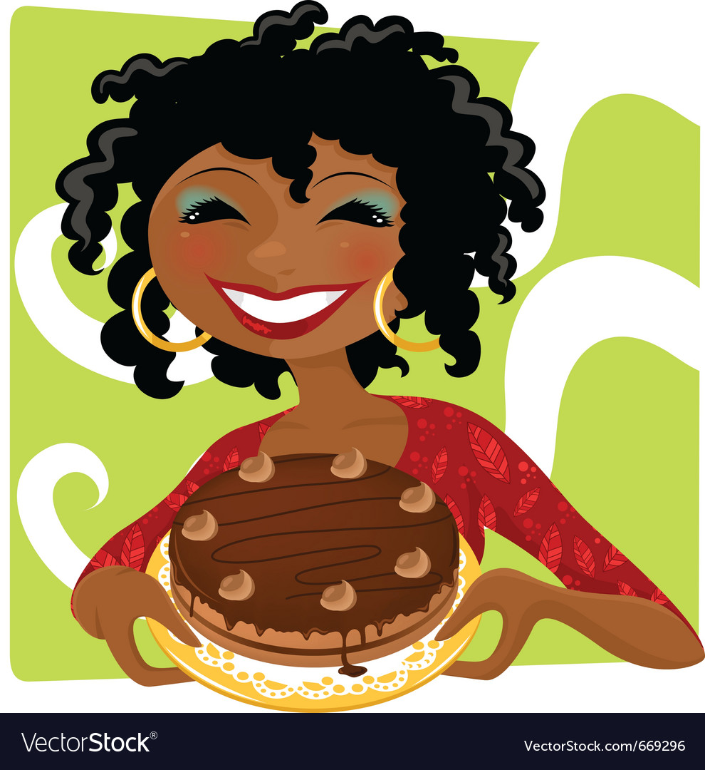 Woman with cake vector | Price: 3 Credit (USD $3)