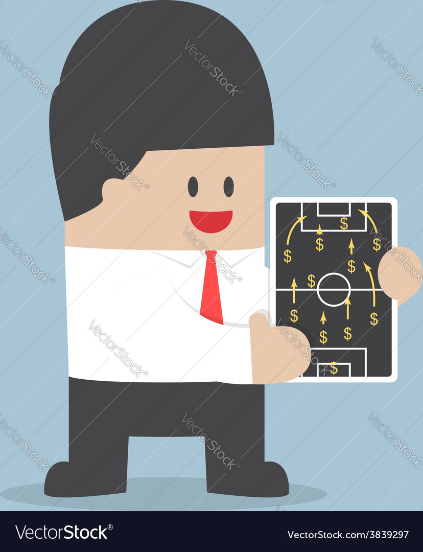 Businessman planning football strategy with dollar vector | Price: 1 Credit (USD $1)